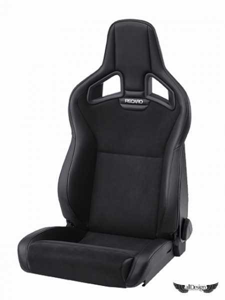 Asiento Semi-Baquet Recaro Cross Sportster CS Piel Negra + Dinamica (Alcántara) Logo Personalizado